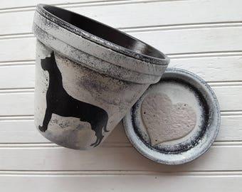 Painted Flower Pot - Dog Lover Gift - Pet Memorial Gift - Dog Memorial - Six Inch Planter