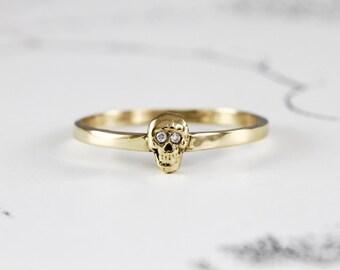 Gold & Diamond Skull Ring, Yellow Gold Catacomb Single Skull Stacking Ring, Alternative Bohemian Engagement Wedding Band, In Stock