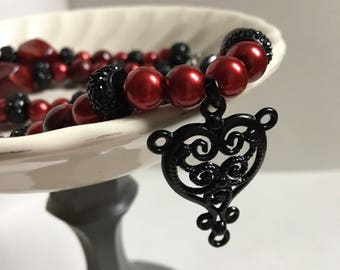 Black Heart Red Beaded Handmade Necklace