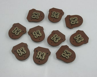 4 pcs. 93 Brown Leather Pad Tag Sew on Decorations Findings 24 mm. LT 93 CH