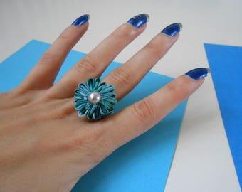 Kanzashi turquoise ring - handmade