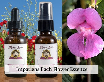 Impatiens Flower Essence, 1 oz Dropper or Spray for Patience, Acceptance, Less Anger and Irritation