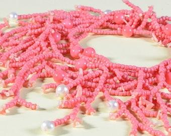 Fringe Beaded Necklace Seed beads bead Necklace Pink Coral Necklace Bead work Necklace Coral Jewelry Beaded Necklace