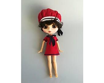 Red cotton sailor dress
