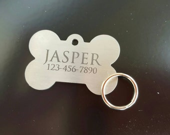 Pet ID Tag Dog tag Large Bone Stainless Steel Laser Engraved
