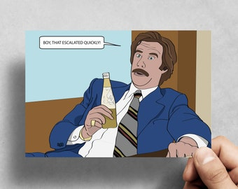 Anchorman - Ron Burgundy - Funny Greeting card - Birthday - Funny - Will Ferrell - Pop culture - Movies - Handmade - Good Luck -  Novelty