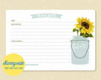 SUNFLOWER Mason Jar Recipe Card -  Personalized Recipe Cards / Printable - 3x5 or 4x6