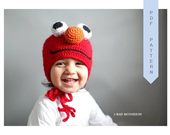 Crochet Elmo Hat, CROCHET PATTERN HAT, Crochet Baby Hat, Elmo Hat, toddler crochet hat, crochet hat pattern, Crochet Pattern Baby