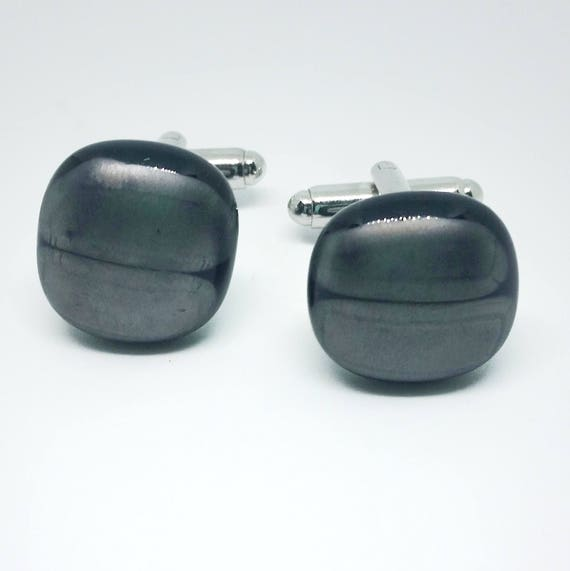 Pewter and Black Glass Cufflinks