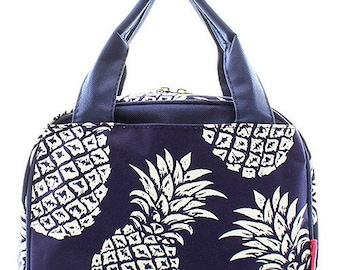 Embroidered Navy with White Pineapple Lunch Bag-Personalized Lunch Bag-Monogrammed Lunch Bag-Embroidered Lunch Bag-Insulated Lunch Bag