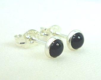 Tiny Black Onyx Stud Earrings .. Black Onyx Earrings .. Tiny Studs .. 4mm Stud Earrings .. Handmade Gift