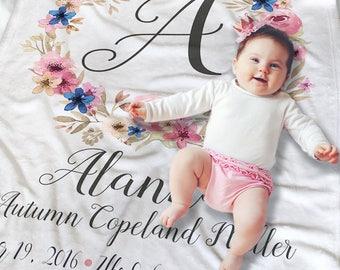 Baby Monogrammed Blanket - Baby Name Blanket - Newborn Baby Blanket - Personalized Baby Blanket - Crib Blanket - Floral Baby Blanket