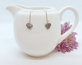 Hammered sterling silver heart earrings