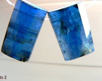 Blue kyanite gemstone faceted rectangular beads- 16-18x10mm- 2 beads- Focal blue kyanite beads- Jewelry beads supply- Gemstone beads