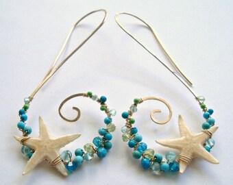 Starfish Hoop Earrings, Real Starfish, Beach Cluster Hoops, Turquoise Wrapped Hoops, Blue Green Gemstone Earrings, Swirl Hoop Earrings