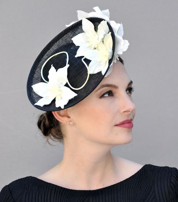 Wedding Hat, Derby Fascinator, Kentucky Derby Fascinator, Wedding Fascinator, Black & White Hat, Formal Hat, Occasion Hat