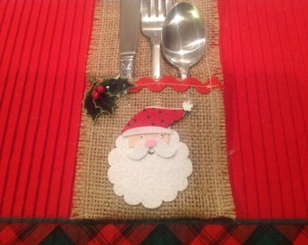 Santa Burlap Silverware Christmas Decor Silverware Holder Christmas Table Decor Housewarming  Gift Holiday Table  Santa Decor Home  Set of 8