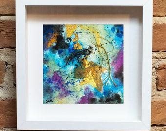 original abstract blue art painting on heavy paper landscape crissyart modern art