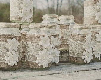 Country Wedding Decoration or Favor, Party Favors, Wedding Table Decoration, Rustic Decoration, Burlap and Lace Mason Jar Covers, White Lace