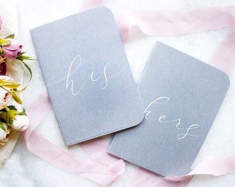 Gray White Vow Books - His & Hers Vow Books, Wedding Vows Personalized Wedding Vow Keepsake Personalized Vow Books, Rustic, Modern Vow Book