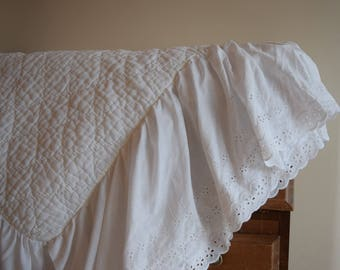 salvation armani vintage bed skirt - white bed skirt - white eyelet - white bedding - white bedroom - vintage home decor - dust ruffle