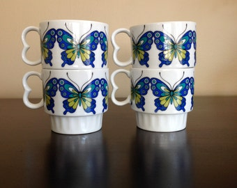 60s Mod Butterfly Coffee Mugs - Set Of 4