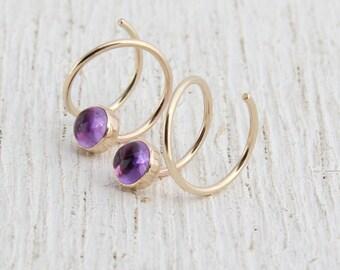 """Amethyst Earrings/ Double Piercing Earrings/ 3/8"""" Diameter/ Gold Filled Hoops for 2 Piercings/ Gold Hoops/ Double Hoops/ Two Hole Earrings"""