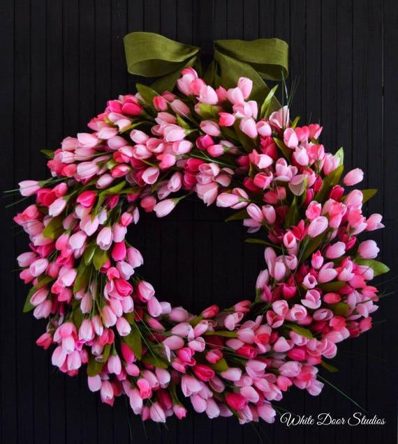 Pink Tulip Spring and Summer Front Door Wreath
