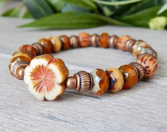 Nature Jewelry, Flower Bracelet, Nature Bracelet, Beaded Bracelet, Orange Bracelet, Boho Bracelet, Bead Bracelet, Hippie Bracelet, Flower