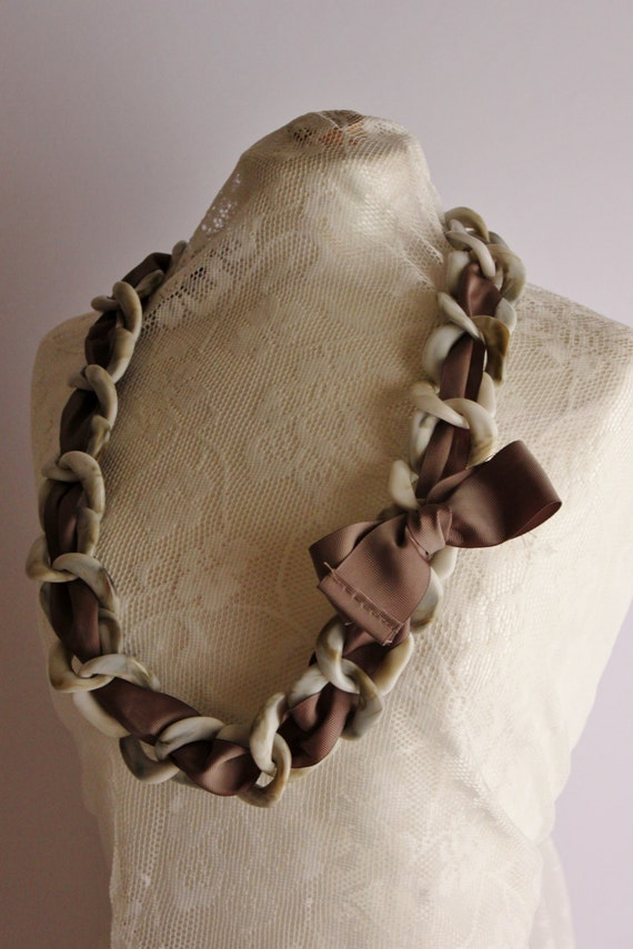 Handmade Statement Necklace, Handmade Chain Necklace, Plastic and Fabric Statement Necklace