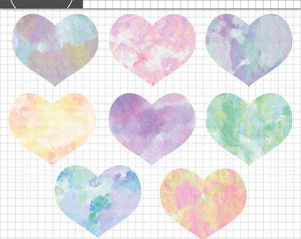 Watercolor Heart Clipart, Valentine Clipart, Watercolor Graphics, Instant Download, Commercial Use