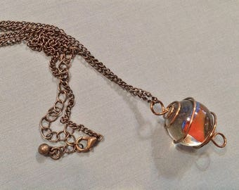 Bronze Wire Caged Marble Pendant Necklace #20020