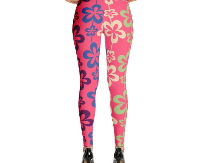 Colorful Floral Pattern Leggings, Womens leggings, Hot Floral Leggings, Floral Print Leggings for Women, Flower Pattern Gift for Her