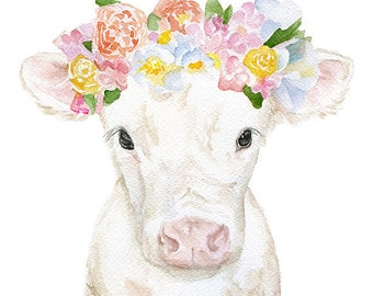 White Cow Calf with Floral Crown Watercolor Painting 11x14 Fine Art Giclee Reproduction Nursery Art