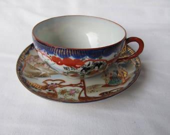 Antique Japanese Kutani Porcelain Cup & Saucer.