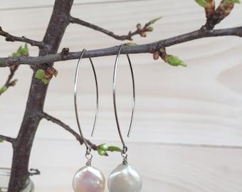 White Coin Pearl Earrings