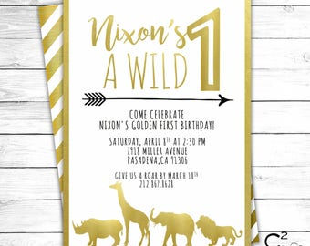 Wild ONE Gold Safari Birthday Invitation
