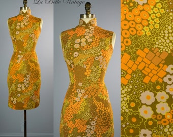 Mod Suzie ~ Vintage 60s Bombshell Cheongsam XS ~ Oriental Rockabilly Dress