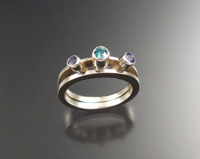 Blue Zircon and Sapphire ring, Sterling, size 7 3/4