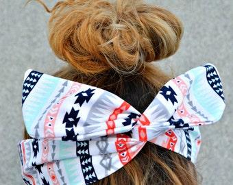 Headband, Tribal Dolly bow Headband, hair bow head band