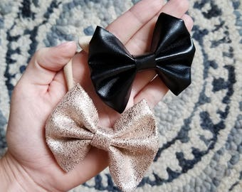 Leather and Rose Gold bow Set