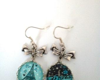 Cabochon 18mm glass eiffel tower earrings