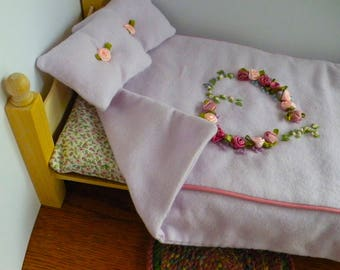 """Barbie Wooden Bedroom Set With Hand Embroidered Linen, Rug  And  Free Bedroom Slippers For 12"""" Doll"""