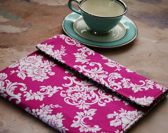 Kindle Case, Padded Kindle Sleeve, Nook Cover , Ereader Case, Custom Sleeve in Catherine Pink Damask