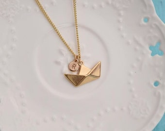 personalized ship necklace hand stamped disc initial necklace dainty delicate gold monogram necklace bridesmaid necklace