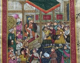 Scène de Cour moghole sur vieux papier ancien