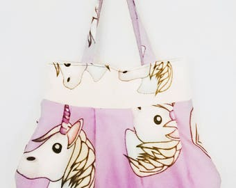 Unicorn, MLP, pony handbag, rainbows, horns, emoji character handbag tote messenger bag purple, lilac, pink