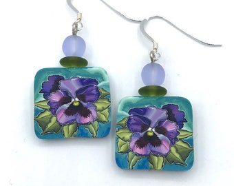 Pansy Earrings Polymer Clay