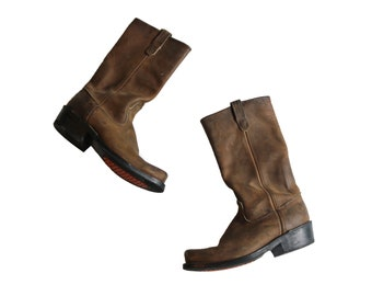 Men's Vintage Brown Leather Boots, Size 10 // Motorcycle Boots // Biker Boots // Western Boots // Moto Boots // Look Like Frye