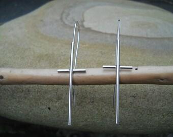 Elegant and simple sterling silver cross earrings